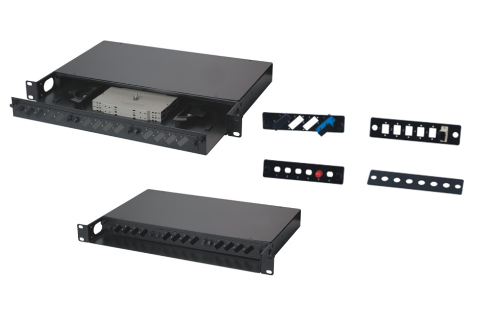 "MT-1009 19"" Network Cabinet Mount Type SPCC 1U Fully Loaded Fiber Optic Patch Panel SC Adapter With Cable Manager"